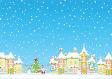 Fondo di Natale di Snowy Fotografia Stock Libera da Diritti