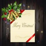 Fondo di Natale su legno Fotografia Stock