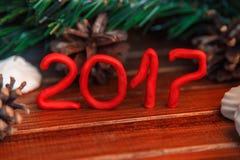 Fondo di Natale su legno regalo e caramelle gommosa e molle Fotografia Stock