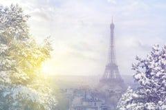 Fondo di Natale: Vista aerea di paesaggio urbano di Parigi con la torre Eiffel al tramonto di inverno a Parigi Immagini Stock