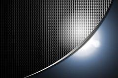 Fondo di nero di carbonio con indicatore luminoso luminoso blu Immagini Stock