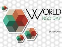 Fondo di NGO Day del mondo il 27 febbraio illustrazione di stock
