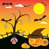 Fondo di notte di Halloween con l'albero e la zucca del cranio Immagini Stock