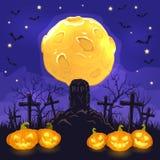 Fondo di notte di Halloween con le zucche sul cimitero e sulla luna Immagine Stock Libera da Diritti