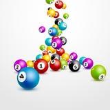 Fondo di numeri delle palle di lotteria di bingo Palle del gioco di lotteria Vincitore del lotto Immagini Stock