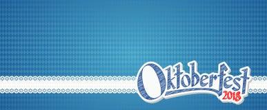 Fondo 2018 di Oktoberfest con il modello a quadretti bianco blu Immagini Stock Libere da Diritti