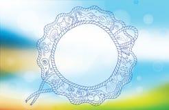 Fondo di ora legale di vettore Spiaggia e mare tropicale con il sole luminoso Contesto del mare con la struttura della corda per  Immagini Stock