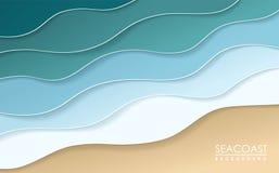 Fondo di origami della costa di mare Arte di carta illustrazione vettoriale