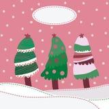 Fondo di paesaggio della neve con gli alberi di Natale Fotografie Stock Libere da Diritti
