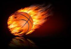 Fondo di pallacanestro con una palla ardente illustrazione vettoriale