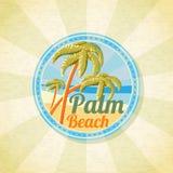 Fondo di Palm Beach di estate retro Vettore Immagine Stock Libera da Diritti