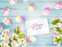 Fondo di Pasqua con i ramoscelli della ciliegia ENV 10 Fotografie Stock Libere da Diritti