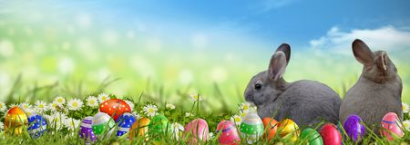 Fondo di Pasqua con le uova di Pasqua ed i coniglietti di pasqua Fotografia Stock Libera da Diritti