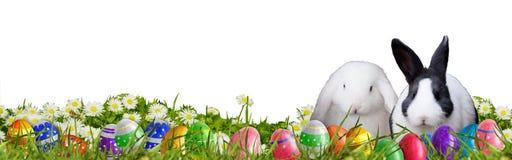 Fondo di Pasqua con le uova di Pasqua ed i coniglietti di pasqua Immagine Stock