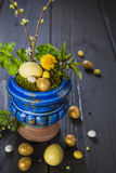 Fondo di Pasqua con le uova ed i fiori della molla Immagine Stock
