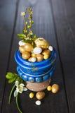 Fondo di Pasqua con le uova ed i fiori della molla Fotografia Stock Libera da Diritti