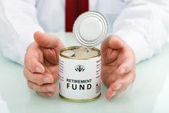 Fondo di pensionamento proteggente della mano maggiore Fotografia Stock