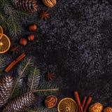 Fondo di pietra scuro di Natale Immagini Stock Libere da Diritti