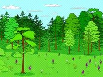 Fondo di Pop art, foresta, radura, lotti degli alberi, insieme Molto verde, natura Vettore Immagine Stock Libera da Diritti