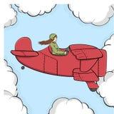 Fondo di Pop art, imitazione dei fumetti La ragazza militare vola sul vecchio aereo Cielo e nubi Vettore immagine stock libera da diritti