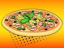 Fondo di Pop art Stile comico d'imitazione Alimento italiano, pizza con frutti di mare e limone Vettore Fotografia Stock
