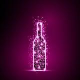 Fondo di progettazione dell'estratto della luce della bottiglia di vino Immagine Stock