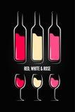 Fondo di progettazione dell'etichetta della bottiglia di vetro del vino illustrazione di stock