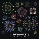 Fondo di progettazione delle collezioni del fuoco d'artificio illustrazione di stock