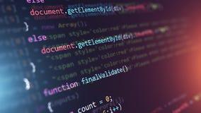 Fondo di programmazione dell'estratto di codice sorgente video d archivio