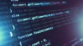 Fondo di programmazione dell'estratto di codice sorgente stock footage