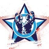 Fondo di propaganda dell'emblema di rivoluzione delle donne e degli uomini Immagini Stock Libere da Diritti