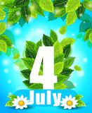 Fondo di qualità con le foglie verdi Estate manifesto del 4 luglio Immagini Stock