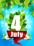 Fondo di qualità con le foglie verdi Manifesto fiori luminosi del 4 luglio e le parole, modello, progettazione per stampare Fotografia Stock