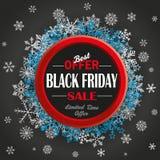 Fondo di Ring Black Friday Snowflakes Dark Fotografie Stock Libere da Diritti
