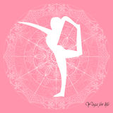 Fondo di rosa della mandala di asana di yoga Fotografia Stock