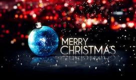 Fondo di rosso 3D di Bokeh di Buon Natale d'argento blu bello Fotografie Stock Libere da Diritti