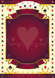 Fondo di rosso del cuore di Pokergame Fotografia Stock Libera da Diritti