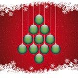 Fondo di rosso del fiocco di neve dell'albero delle palle di Natale Fotografia Stock Libera da Diritti