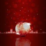 Fondo di rosso della palla di musica Fotografie Stock
