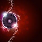 Fondo di rosso di musica Fotografia Stock