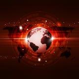 Fondo di rosso di tecnologia di comunicazione globale Fotografie Stock