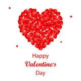 Fondo di San Valentino con il cuore dei petali rosa Immagine Stock