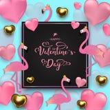 Fondo di San Valentino, oro e cuori rosa, fenicotteri sulla b immagine stock