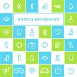 Fondo di sanità e medico Progettazione allineata delle icone Immagine Stock Libera da Diritti