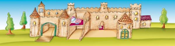 Fondo di scena del castello Fotografia Stock