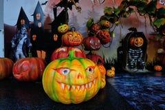 Fondo di scena delle zucche di Halloween Fotografia Stock Libera da Diritti