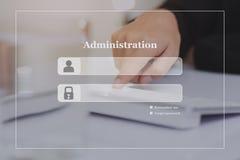 Fondo di schermo di connessione dell'amministrazione sulla tastiera di tocco fotografie stock