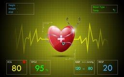 Fondo di schermo medico del cardiogramma del ecg Fotografia Stock Libera da Diritti