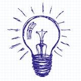 Fondo di schizzo di idea con la lampada illustrazione di stock