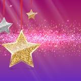 Fondo di scintillio con le stelle d'attaccatura dell'oro e dell'argento Fotografia Stock